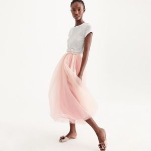 J. Crew Tule Ball Skirt Muted Pink NWT Midi Size 4